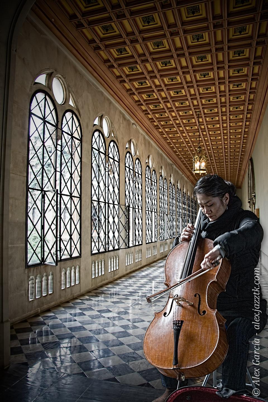 Violonchelista en el claustro